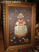 Antik holland kollázs kép, blondel keretben : LÁNY