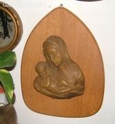 Antik falikép fa alapon – Szűz Mária a kis Jézussal