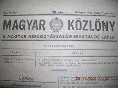 Magyar  Közlöny 1964.május.7. ára 80 fillér