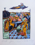 3 db Zórád Géza meseillusztráció akvarell-tus