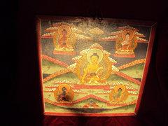 Antik Buddhista Tanka (fára festett) 1.