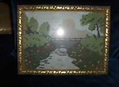 Antik gobelin - eredeti, szép keretben