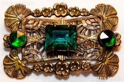 Antik Bross Tűzaranyozott Zöld Üveg Ékkövekkel