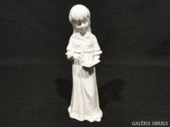 5246 Régi jelzetlen porcelán kislány szobor