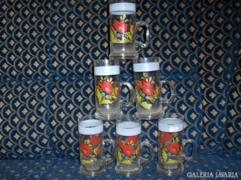Retro, kézi festésű virágos üveg pohár - 4 + 2 db