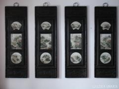 Porcelán berakásos kínai táblakép szett.