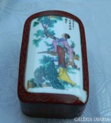 Álomszép 100éves kínai fa - porcelán díszdoboz