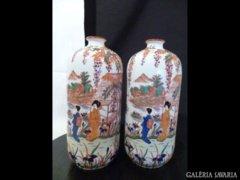 2162 E4 Régi kínaimintás osztrák viktória váza pár