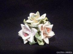 3316 G3 Régi porcelán rózsa rózsadísz vitrintárgy