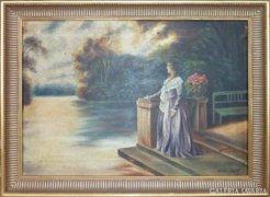 Olajfestmény, nő lila ruhában