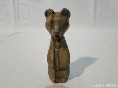 0612 Régi zsírkő medve szobor 11 cm