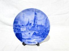 0480 Régi Hamburg látképes kobaltkék dísztányér