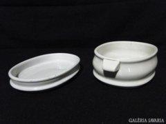 0735 Régi Zsolnay ételtartó virslis porcelán tál