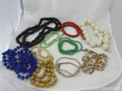 5576 Régi retro női nyaklánc bizsu gyöngysor 10 db