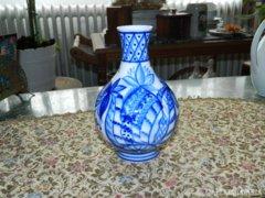 Ritka jelzett kobaltkék festéses antik váza