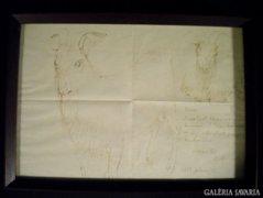 K017 Berki Viola : Két kecske tusrajz autográf