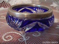 Kék ólomkristály tálka ezüst széllel
