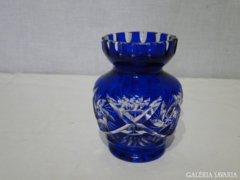 8464 Régi színezett csiszolt kristály üveg váza