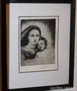 Jelzett ritka rézkarc - Kis Jézus Szűz Máriával