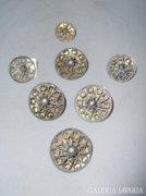 Ezüst antik pitykegombok 3db
