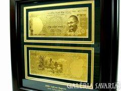 1000 RÚPIA 24 Kt INDIA ARANY BANKJEGY, Gandhi Aranypénz