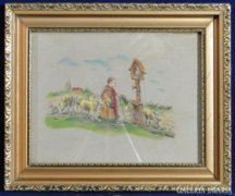 0A631 Régi selyemkép imádkozó juhászfiú