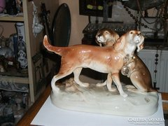 Royal Dux páros kutya figura