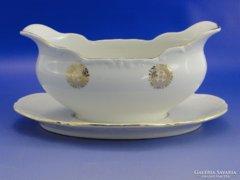 6963 Jelzett aranyozott porcelán mártásos tál