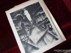 Ruzicskay Gy: Angyal a dombtetőn karácsony Algrafia jelzett