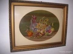 Goblein antik kép ,csendélet  ,szép keretben  76x 60 cm