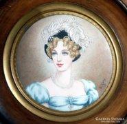Antik miniatúra, jelzett női portré