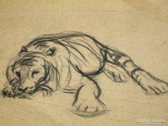 Réti Mátyás , 1957 ,3 db rajz, tigris, vadállatok