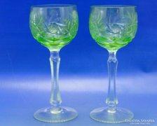 0A992 Régi zöld talpas kristály pohár pár