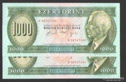 """1000 forint 1992. """"D"""". (2 db sorsz. követő)! UNC !"""
