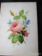 Rendkivüli kézzel festett porcelán festmény RÓZSA