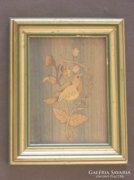 Madarat ábrázoló kisméretű intarzia kép