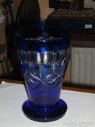 Kék üveg díszpohár