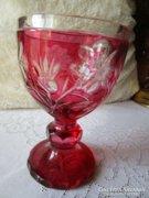 Óriási BIDERMEIER hántolt rózsaszín kehely pohár