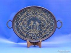 0B952 Gyönyörű antik különleges rézbetétes tálca