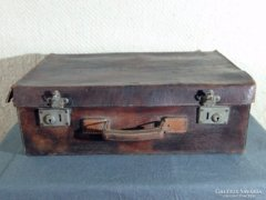 0C253 Antik bőr utazó táska koffer bőrönd