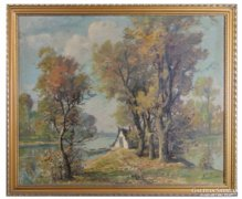 0C186 Jelzett olaj vászon Tiszapart festmény