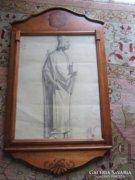 SZENT LAJOS rajz múzeum pecsét faragott keret 1838
