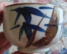 Kézzel festett, bambusz mintás kis kaspó, pohár