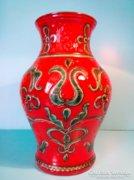 Tűzpiros GMUNDNER kerámia váza nagy, jelzett