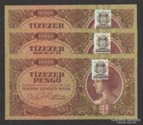 10000 pengő 1945.  (3 db sorszámk., bélyeges)! UNC !! RITKA!