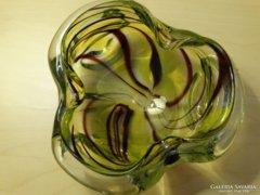 Retro üvegtál vagy hamutartó, vastag, nehéz kézműves darab