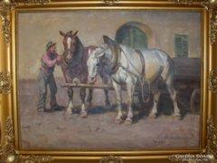 Viski János : Útra készen c. festmény
