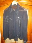 ART DECO nehéz selyem hímzett fekete női blúz 1928 VISELET