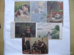 6 db magyar művészi képeslap. 1900-as évek eleje.