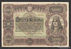 5000 korona 1920. (EF++) ! EXTRA ÁLLAPOT!! RITKA!!!